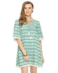 Green Tie Dye Look Flared Dress X-Large