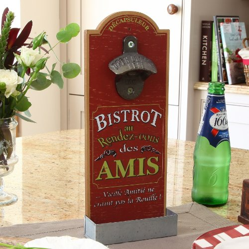 French Wall Mounted Outdoor/Indoor Bottle Opener and Catcher 30cm