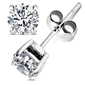 2 Carat Total Weight Cubic Zirconia Sterling 925 Silver Stud Earrings