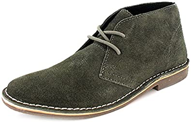 New Mens/Gents Grey Red Tape Suede Upper Lace Up Mid Cut Desert Boots. - Grey - UK SIZE 7