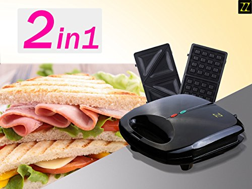 ZZ S6142B 2-in-1 Waffle & Sandwich Maker with 2 Sets of Detachable Non-Stick Plates, Black (2 In 1 Waffle Maker compare prices)