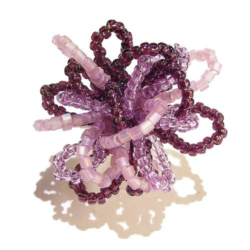 The Black Cat Jewellery Store Seed Bead Flower Ring   Purple. Adjustable