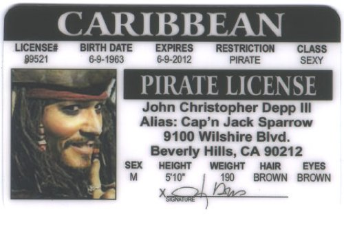 Cartain Jack Sparrow Johnny Depp Pirate Fun Fake ID License