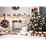 7x5ft Christmas Tree Backdrop Photography White Brick Fireplace for Newborn Christmas Photo Studio Background