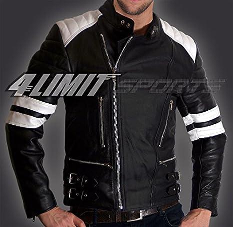 4LIMIT Sports Blouson moto >>80s<< retro oldschool en cuir noir-blanc