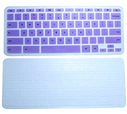 CaseBuy Semi-Transparent Keyboard Silicon Protector Skin Cover(Set of 2) for HP Chromebook 14 14-inch Google Chromebook US Version (Purple+Clear)