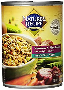 Nature's Recipe Canned Dog Food for Adult Dog, Healthy Skin Venison and Rice Recipe (Pack of 12 13.2 Ounce Cans)