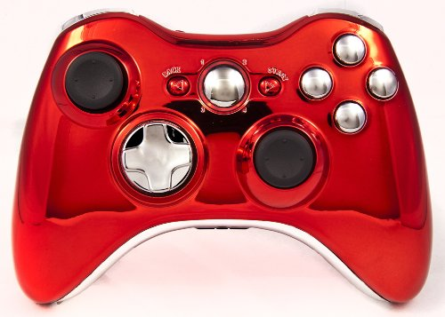 Drop shot, Auto-aim, Jitter Xbox 360 Modded Controller COD MW3, Black Ops 2, MW2, Rapid fire mod (Chrome Red/Silver V2.0)