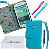 ECO-FUSEDBlue Leather Wallet Case Cover For Samsung Galaxy S3 MINI I8190 (*S3 MINI ONLY*) With Blue Floral Interior...