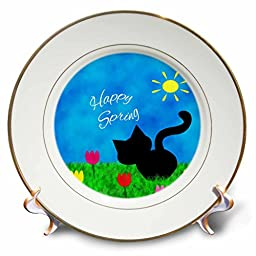 3dRose Cute black Kitty Cat Colorful Tulips Happy Spring - Porcelain plate, 8-Inch (cp_180749_1)