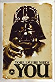 Framed Star Wars - The Empire Needs You 24x36 Poster in Brushed Nickel Finish Wood Frame