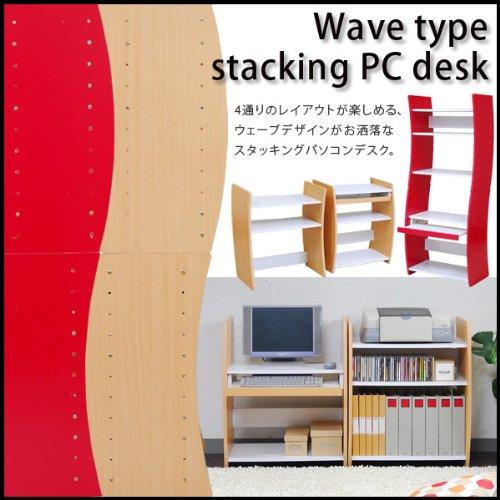 4WAY パソコンデスク 幅60 wd-208-whna ホワイト×ナチュラル
