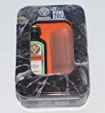 Jagermeister & Glass IT RUNS DEEP ice cold shot gift set in a cool looking tin(20ml miniature and jagermeister branded glass)
