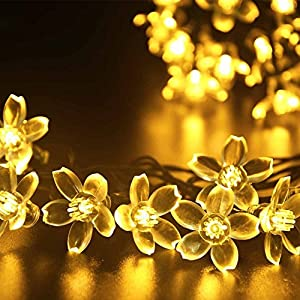 Qedertek Outdoor Flower Solar String Lights, 21ft 50 LED Garden Lights Warm White Fairy Blossom Decorative Lighting for Indoor, Home, Patio, Lawn, Party and Holiday Decorations