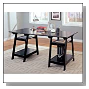 Black Wood Office Desk Table for Home Office