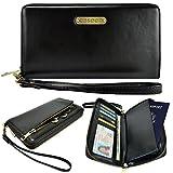 Passport Case, Travel Wallet, caseen® ARIA Fashion Leather Clutch Purse Wristlet (Black) w/ Passport Holder, Credit Card ID Cash Pocket, Wrist Strap, Zipper Coin Holder