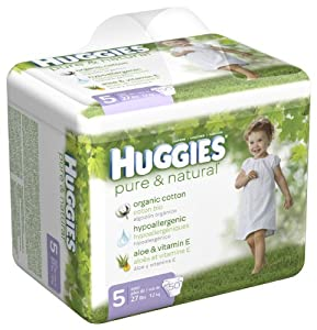 Huggies Pure & Natural Diapers, Size 5, 50-Count (Pack of 2)
