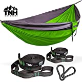 #1 Premium Single Camping Hammock & Bonus Straps By TNH Outdoors - Premium Quality Hammock - Strong 9ft Straps With 30 Hitch Points - Larger 10x5ft Hammock - Lifetime Warranty
