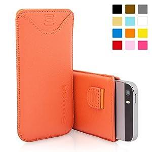 Funda Snugg de cuero en color Naranja para el iPhone 5 / 5S - Funda con ranura para tarjetas, tira elástica y un interior de fibra Nubuck de alta calidad para el Apple iPhone 5 / 5S