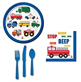 Party Kit for 16 (Birthday or Baby Shower etc) - Plates, Napkins & Cutlery Set : Bonus - Light Up Timer Toothbrush & Reusable Cotton Wipe (Service Vehicles: Fire Truck Police Car School Bus etc)
