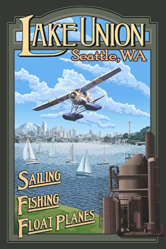 Lake Unions Seattle Fishing by Lantern Press Art Print, 19 x 28 inches (Seattle Fishing compare prices)