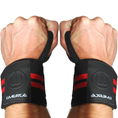 WRIST WRAPS BRACE SUPPORT LIFTING STRAPS FOR WEIGHT LIFTING (Black & Red)