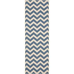 Safavieh Courtyard Collection CY6244-243 Blue and Beige Indoor/ Outdoor Runner, 2 feet 3 inches by 8 feet (2\'3\