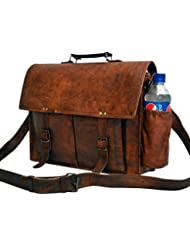 """Messenger Of Leather Handmade Vintage Leather Briefcase For Men & Women. 11"""" X 15"""" X 4.5"""""""