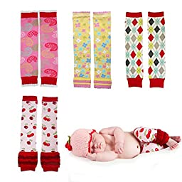 Huggalugs Variety 4-Pack Baby Girls Colorful Novelty Legwarmers Infant
