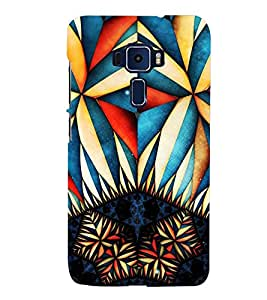 GEOMETRICAL TRICOLOURED PATTERN 3D Hard Polycarbonate Designer Back Case Cover for Asus Zenfone 3 ZE520KL::Asus Zenfone 3 (5.2 INCHES)