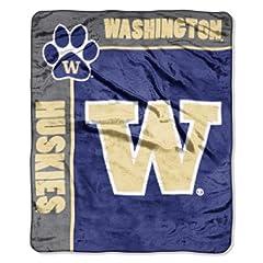 Buy NCAA Washington Huskies 50-Inch-by-60-Inch Raschel Plush Throw School Spirit Design by Northwest