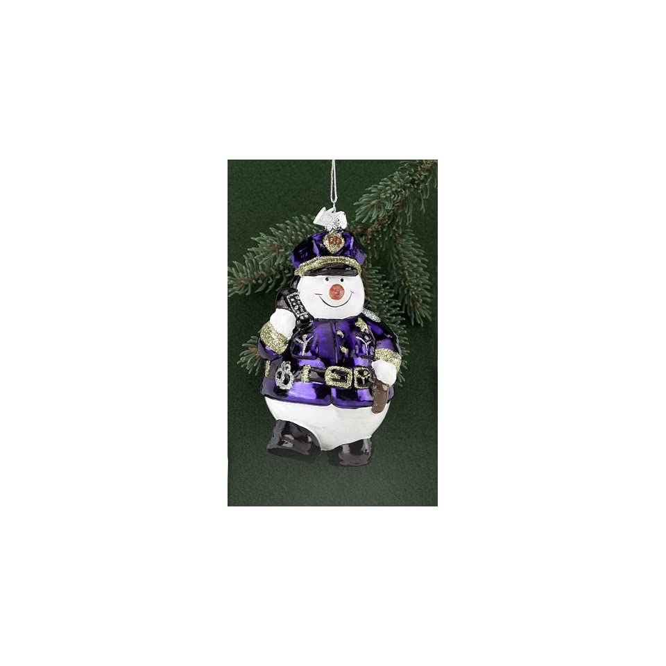 Pack of 8 Blown Glass Police Officer Snowmen Christmas Ornaments 4.75