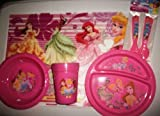 Disney Princess Placemat, Divided Plate, Bowl, 12 Oz Tumblers & Flatware