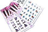 Smurf And Mickey Nail Art Water Tattoo Sticker - 2 pack Mixed Design with Bonus