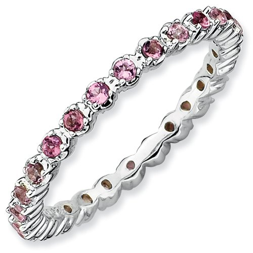 Sterling Silver Stackable Expressions Pink Tourmaline Ring (Size 10)