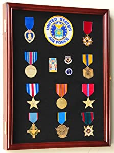 Military Medals, Pins, Patches, Insignia, Ribbons, Flag Display Case Cabinet, Cherry