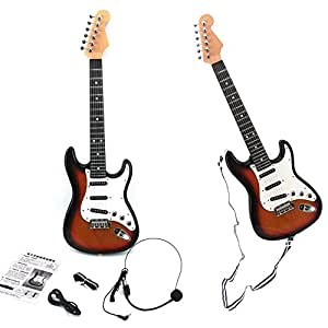 buy e supporttm kids educational toys child 39 s simulation electric guitar with strap microphone. Black Bedroom Furniture Sets. Home Design Ideas