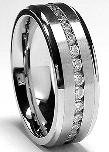 7MM Men's Eternity Titanium Ring Wedding Band with CZ size 11