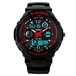 Skmei Sports Chronograph Analog - Digital Red and Black Dial Mens Watch - AD0931