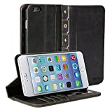 IPhone 6 Case, GMYLE Book Case Vintage for iPhone 6 4.7 inch - Black Classic Crazy Horse Pattern PU Leather Book style Flip Folio Stand Case Cover