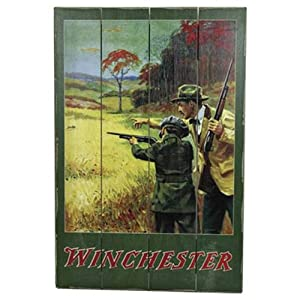 Rivers Edge Products Winchester Man and Boy Barn Wood Hunting Sign