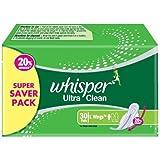 Whisper Ultra Clean - L Wings (30 Pads)