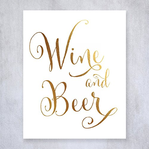 Wine and Beer Gold Foil Sign Wedding Reception Signage Bar Cart Small Sign Drinks Party Decor 5 inches x 7 inches D44