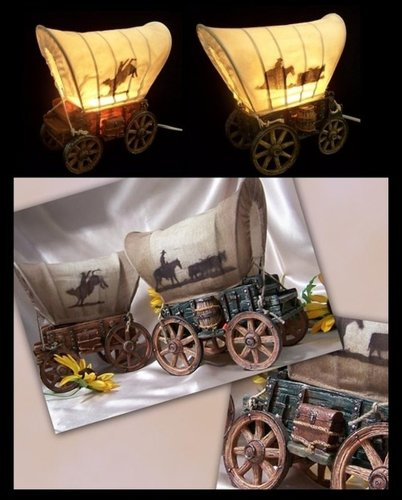 Iwgac Home Indoor Decorative Set Of 2 Stone Resin Lamps Covered Wagon Nightlights front-1073984