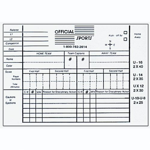 Soccer Referee Printable Score Cards
