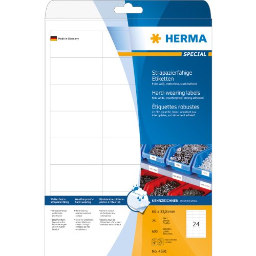 HERMA 4691 66x33.8mm Colour Laser Film Rectangular Weather Proof Shipping Labels - Matte White (600 Labels, 24 per Sheet)