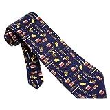 Musical Instruments Tie Blue Silk Necktie - Mens Music Neck Tie