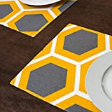 Charcoal & Mustard Yellow Honeycomb Placemats 4/Pack