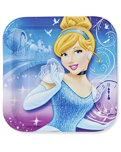 "American Greetings Cinderella 7"" Square Plate (8 Count)"