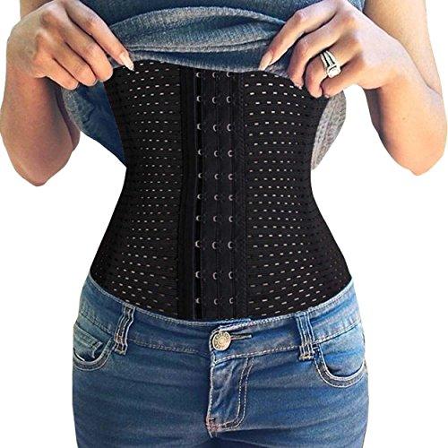 Junlan Women Trainer Breathable Waist Tummy Shaper Corset 4 Stell Boned (L, 2 Black) (Dress Form Xl Adjustable compare prices)